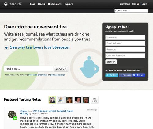 steepster.com top page tea comunity