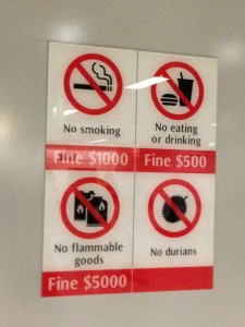 ドリアンは地下鉄持ち込み禁止@シンガポール