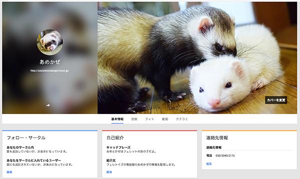 完成したGoogle+ページ