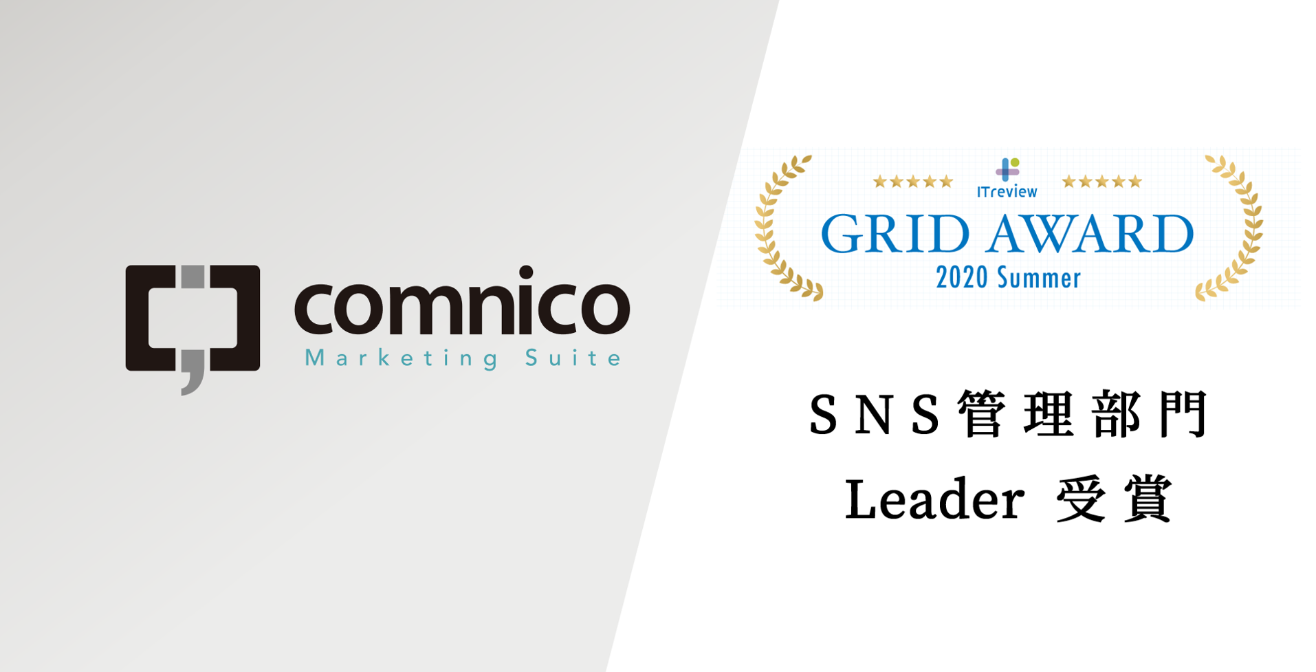 コムニコ マーケティングスイートが、「ITreview Grid Award 2020 Summer」SNS管理部門を受賞