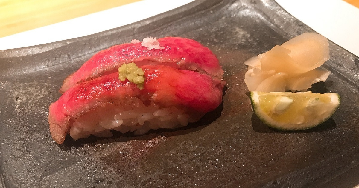 特選和牛の握り寿司 塩スダチ&山葵醤油で♪