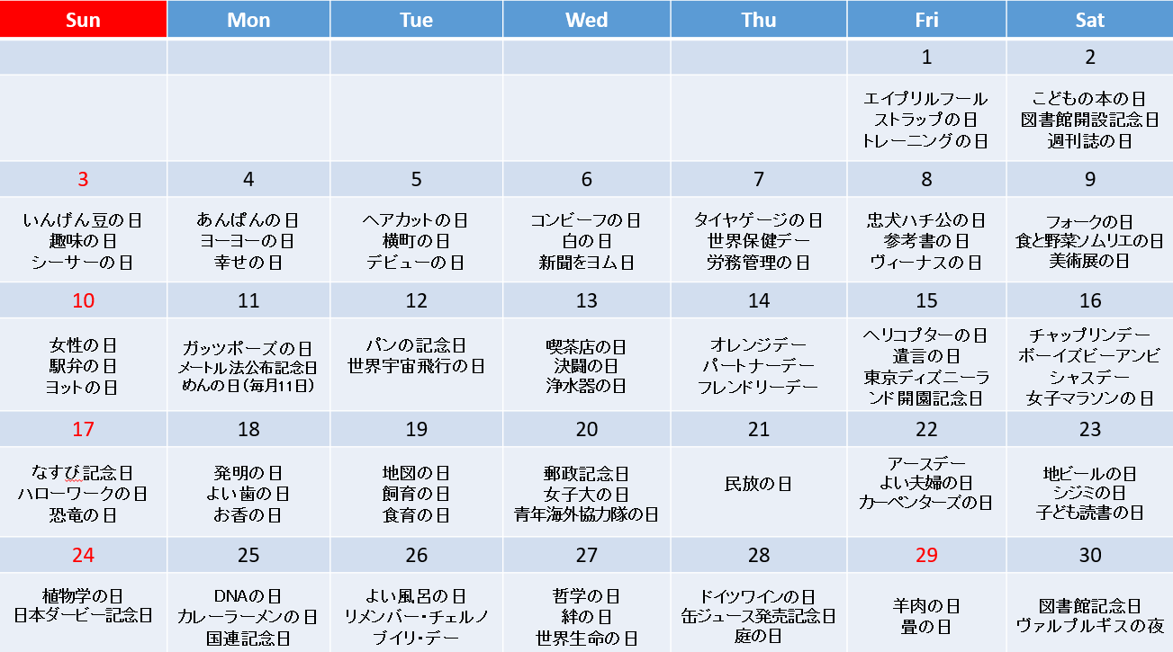 この日何の日カレンダー