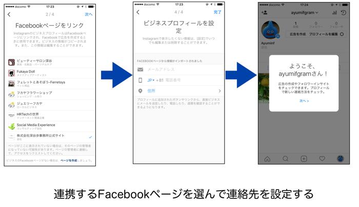連携するFacebookページを選んで連絡先を設定する